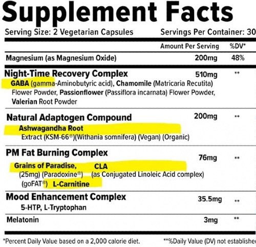 Inno Supps Night Shred Ingredients