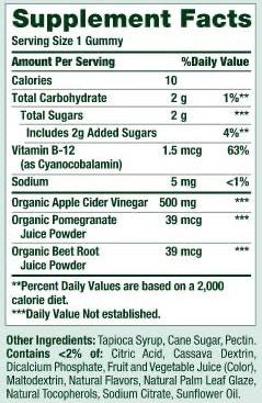 Nature's Bounty Apple Cider Vinegar Gummies Ingredients